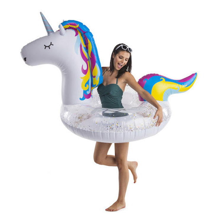giant inflatable unicorn pool float with sparking sprinkles