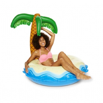 Giant inflatable island oasis swimming ring pool float
